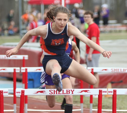 Galion junior Kerrigan Myers shown here setting a meet record in the 100 hurdles with a time of 14.77 at the Shelby Invitational.