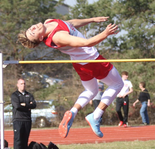Shelby's Uriah Schwemley tied the meet record by clearing a personal best 6-8 in Saturday's Shelby Invitational. Schwemley is the defending Division II state champ.