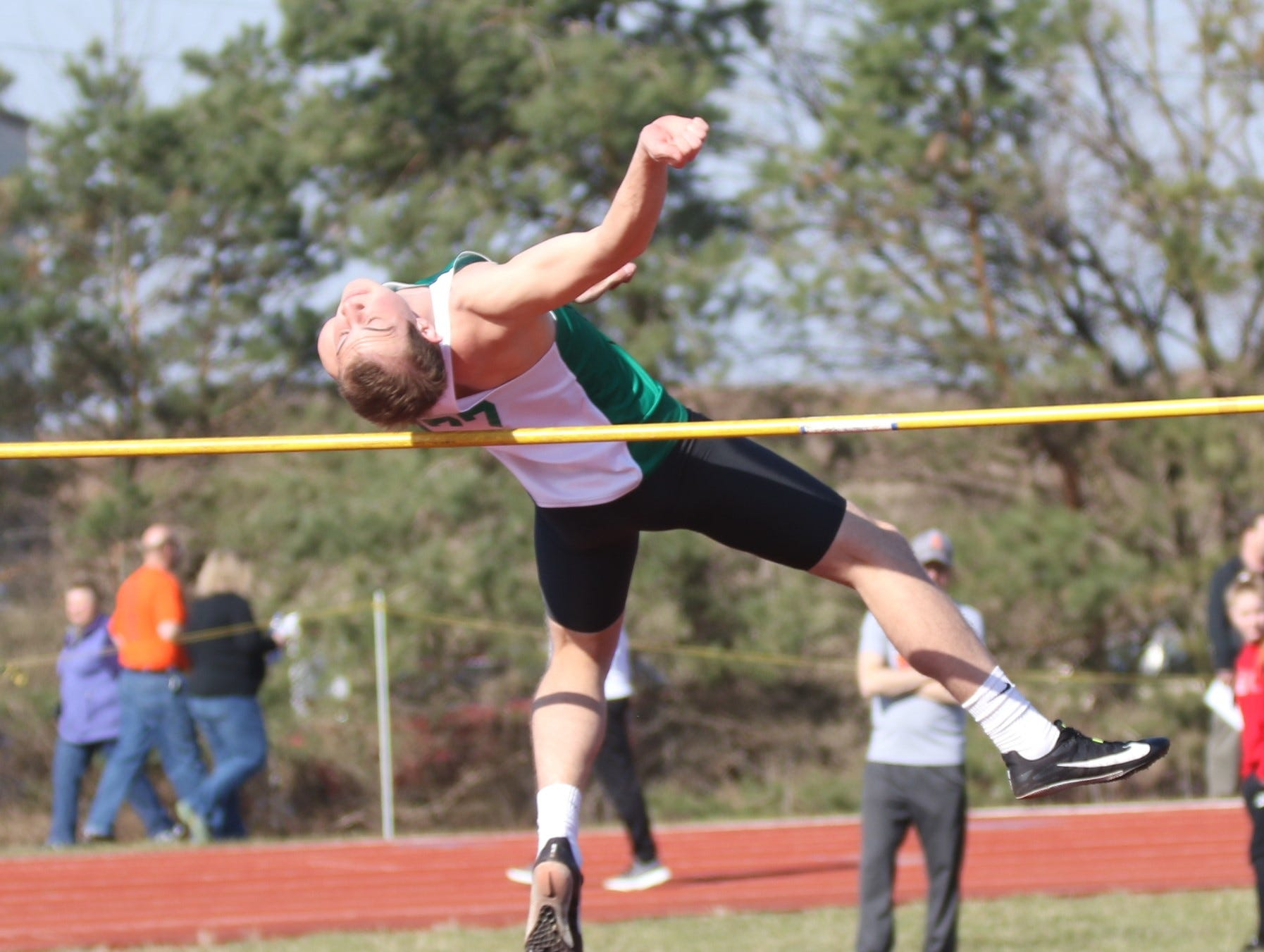 Clear Fork's Seth Stoner went toe-to-toe with Shelby's Uriah Schwemley in the high jump during the Shelby High School Invitational on Saturday afternoon.