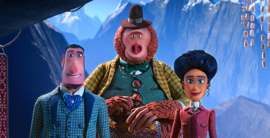 "Adventurers Sir Lionel Frost (left) and Adelina Fortnight (right) try to reunite Mr. Link with his ancestors in ""Missing Link."""