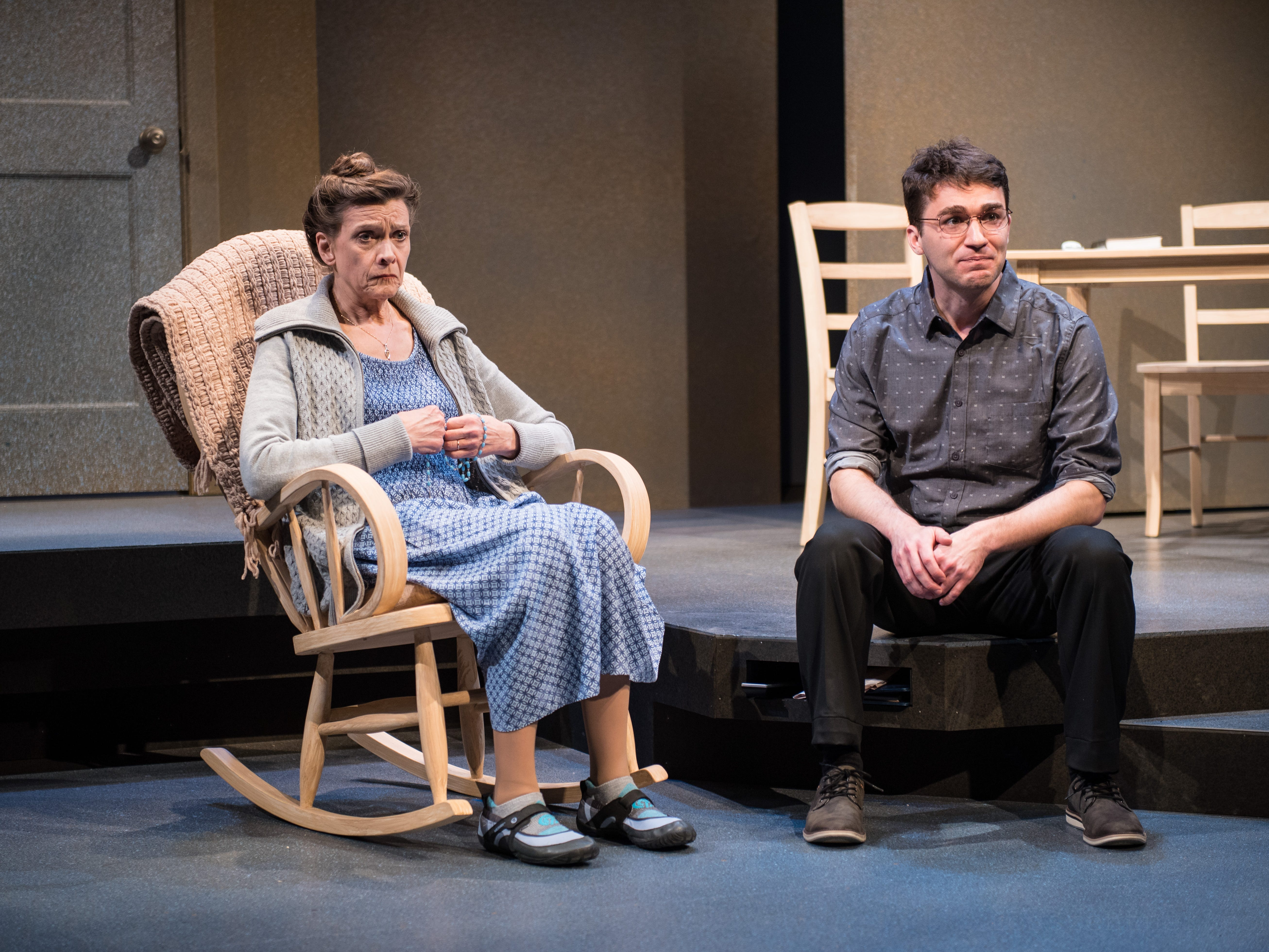 """Carrie Hitchcock and Jack Dwyer portray mother and son in Next Act Theatre's """"How to Write a New Book for the Bible."""""""