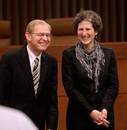 Justice David Prosser and Assistant Attorney General JoAnne Kloppenburg appear before a debate for the Wisconsin Supreme Court at the Marquette University Law School Monday, March 21, 2011.