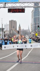 Jessa Victor of Madison finishes in a time of 2:49:37, first among women in the Milwaukee Marathon on Saturday, April 6, 2019.
