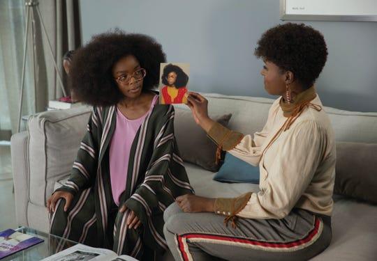 "Jordan Sanders (Marsai Martin) and April Williams (Issa Rae) try to figure out how Jordan got so ""Little."""