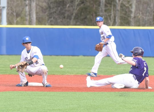 Mountain Home shortstop Josh Prinner takes the throw as Fayetteville's Andrew Walker steals second base on Friday.