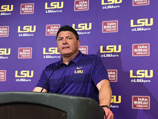 Coach Ed Orgeron speaks to reporters Saturday following LSU's spring football game.