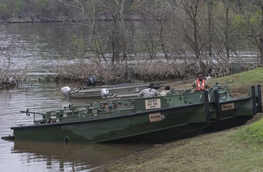 Louisiana National Guard boats rest at shore after conducting flood rescue training operations at the Sterlington Operations Center along the banks of the Ouachita River in Sterlington, La. on April 6. The event was held in cooperation with the Governor's office.