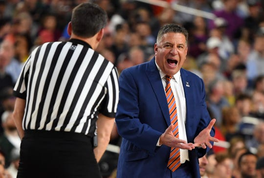 Apr 6, 2019; Minneapolis, MN, USA; Auburn Tigers head coach Bruce Pearl reacts to an official in the first half against the Virginia Cavaliers in the semifinals of the 2019 men's Final Four at US Bank Stadium. Mandatory Credit: Robert Deutsch-USA TODAY Sports