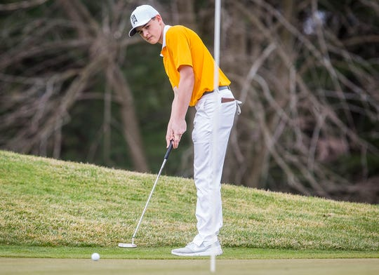 FILE -- Monroe Central's Shawn Roderick helped his team win the MEC and recorded the lowest individual score of the day with his 77.