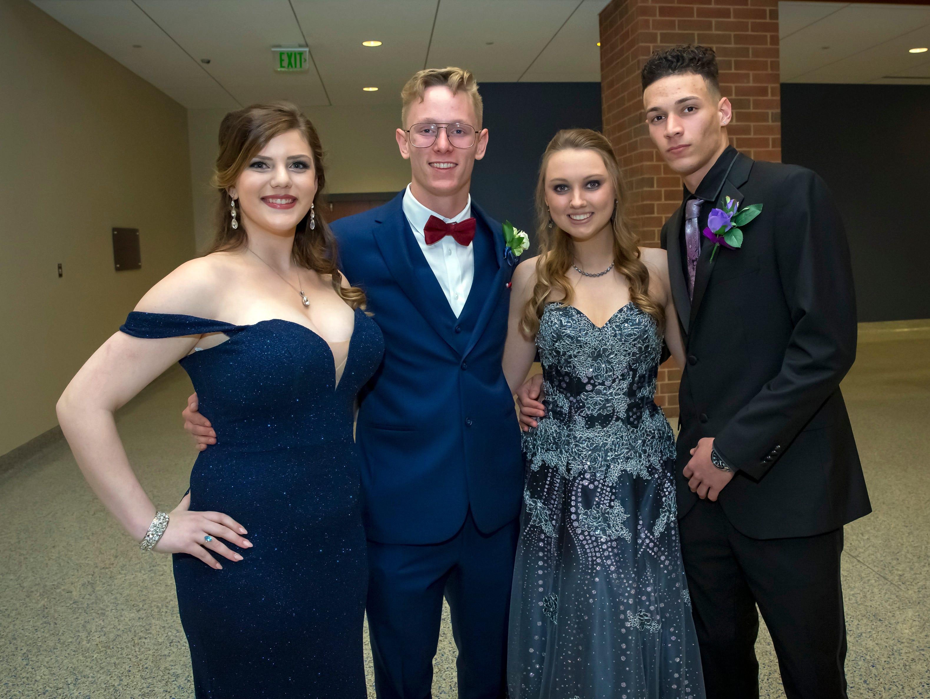Ashley Adams, Jordan Turley, Sydnee Greer and Abdiel Ortega arrive at the Stewarts Creek High School prom held at MTSU, Friday, April 5, 2019.