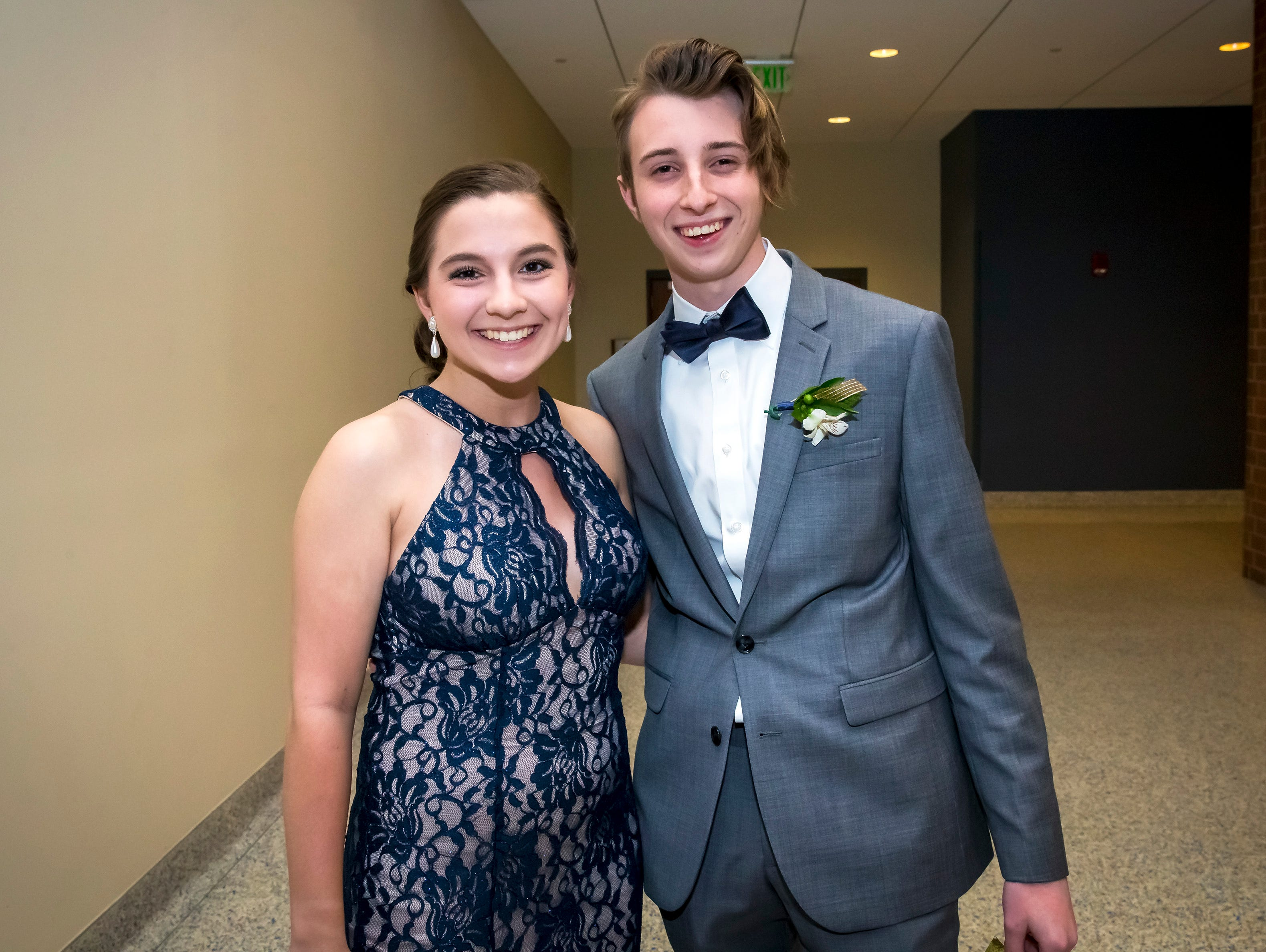 Sage Buhler and Spencer Stoner arrive at the Stewarts Creek High School prom held at MTSU, Friday, April 5, 2019.