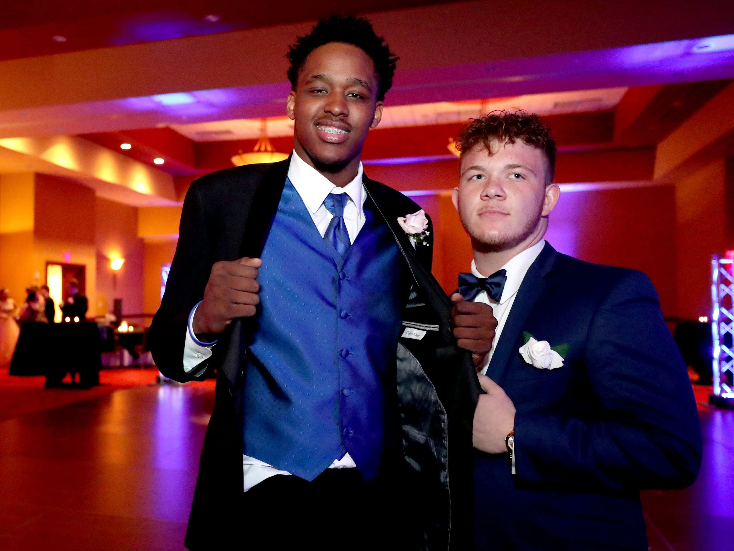 DeMarious Stoudemire, left and Carl Gudvangen show off their tuxes at Eagleville's Prom held at Embassy Suites, in Murfreesboro on Thursday April 5, 2019.