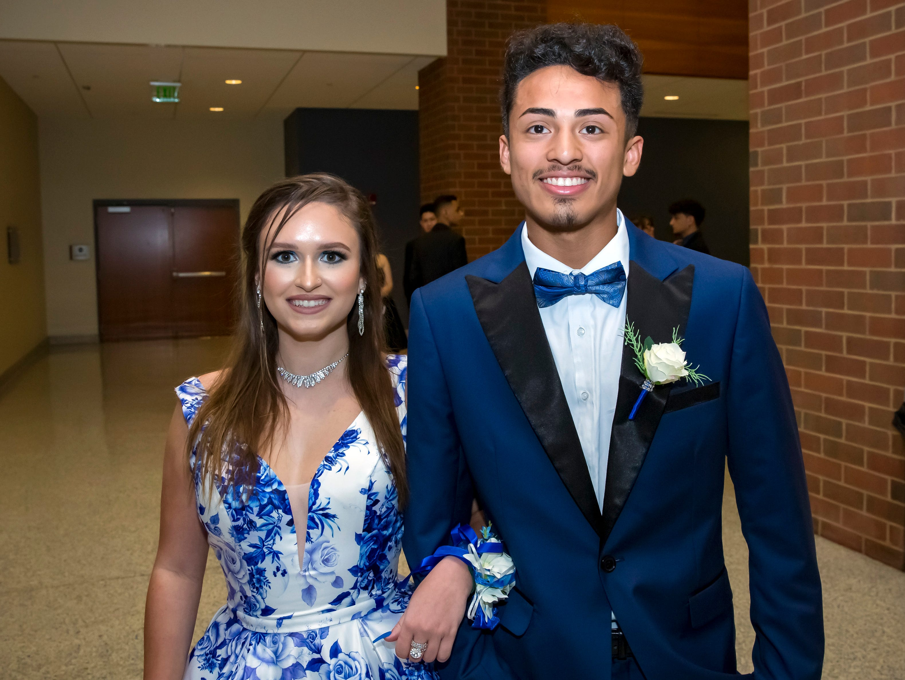 Melanie Romero and Andy Ortiz arrive at the Stewarts Creek High School prom held at MTSU, Friday, April 5, 2019.