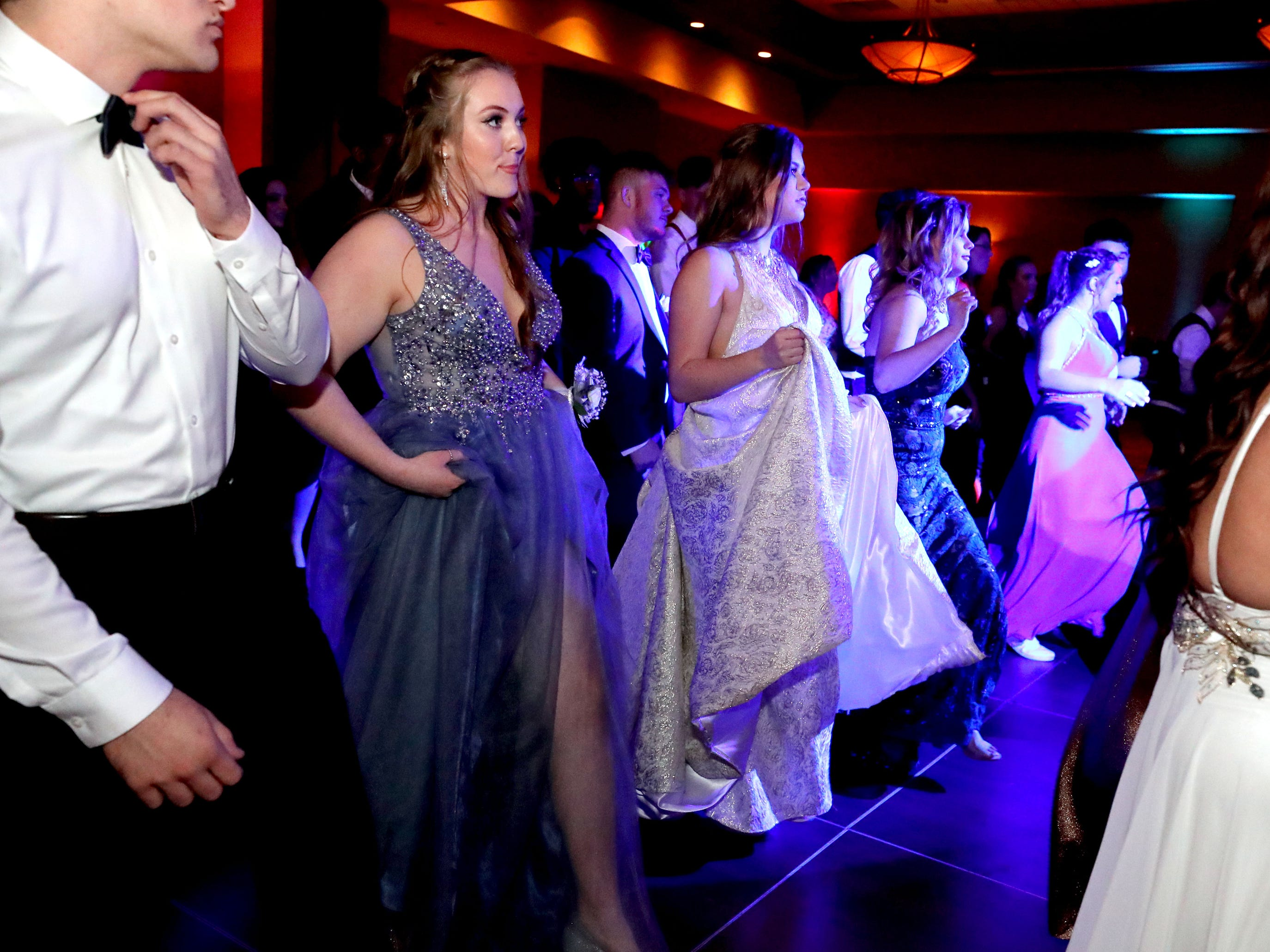 Students dance on the dance floor at Eagleville's Prom held at Embassy Suites, in Murfreesboro on Thursday April 5, 2019.