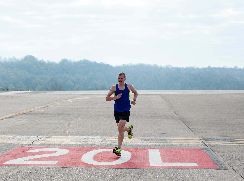 Runners finish the BNA 5K on the Runway at Nashville International Airport on Runway 2R/20L Saturday, April 6, 2019, in Nashville, Tenn.