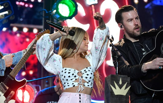 """Maren Morris and Brothers Osborne rehearse """"All my favorite people"""" that they will be performing at the 54TH Academy of Country Music Awards Friday, April 5, 2019, in Las Vegas, Nev."""