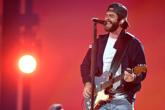 "Thomas Rhett rehearses his new single ""Look What God Gave Her"" for his performance at the 54TH Academy of Country Music Awards Friday, April 5, 2019, in Las Vegas, Nev."