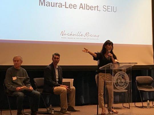 Marua-Lee Albert from the Service Employees International Union speaks at the Nashville Rising forum on Saturday.