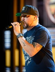 Jason Aldean rehearses for his performance at the 54TH Academy of Country Music Awards Friday, April 5, 2019, in Las Vegas, Nev.