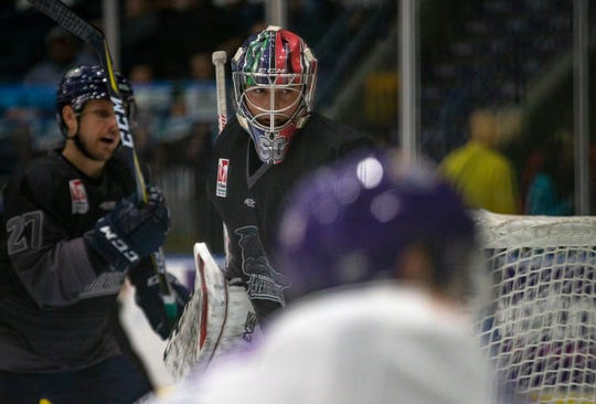 Florida Everblades goalie Jeremy Helvig defends the goal against Orlando Solar Bears on Friday. Helvig has been one of the top goalies in the ECHL in his rookie season.