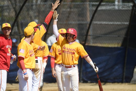 Bergen Catholic baseball at St. Mary on Saturday, April 6, 2019. BC #7 Matthew D'Amato celebrates after getting a hit.