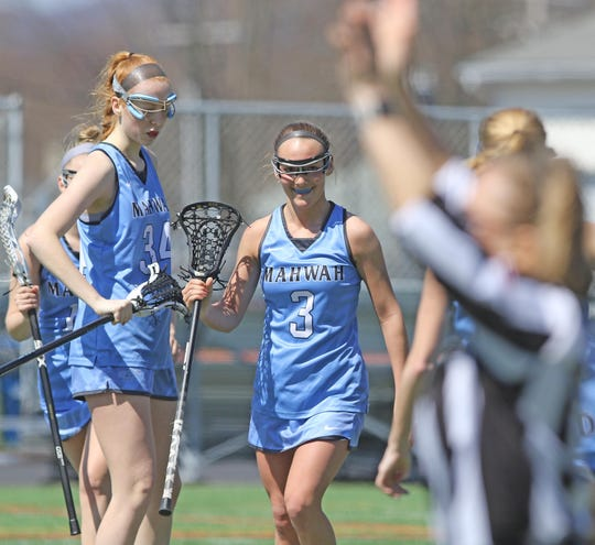 Deanna Ciliento after scoring a goal for Mahwah in the second half.