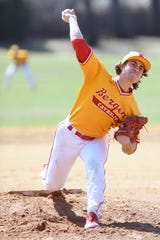 Bergen Catholic baseball at St. Mary on Saturday, April 6, 2019. BC pitcher #5 Dominic Cancellieri.