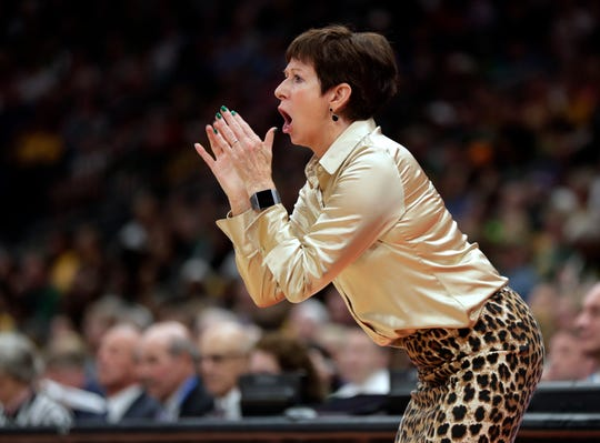 Notre Dame coach Muffett McGraw shouts to her team during the second half against Connecticut in a Final Four semifinal of the NCAA women's college basketball tournament Friday, April 5, 2019, in Tampa, Fla.