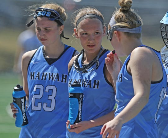 Jianna Varga, Deanna Ciliento and Emily Kastens  of Mahwah during a time out in the second half.