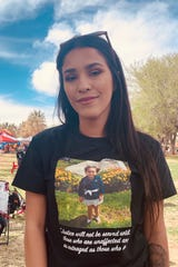 Saundra Gonzales, 23, remembers her daughter, Faviola, who died in September, the victim of alleged child abuse. Gonzales was attending the Crime Victims Expo and Walk on Saturday, April 6, 2019, at Young Park.