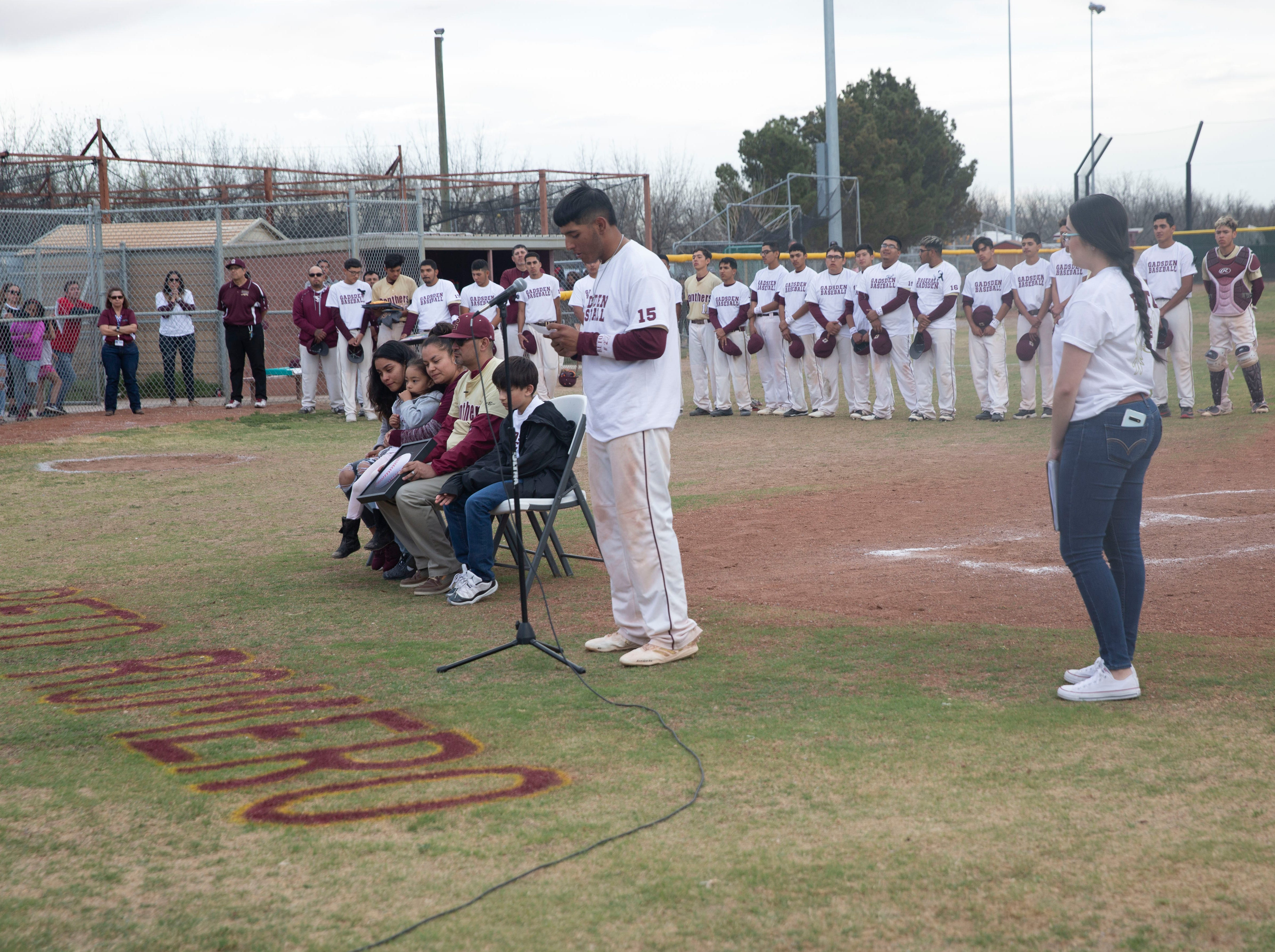 Friends, classmates and supporters of the Beto Romero family gathered Friday evening April, 5, at a Gadsden High School double-header baseball game, to honor their fallen teammate, who was killed by an erratic driver earlier this week, in Anthony, New Mexico. Romero was just 16-years old.