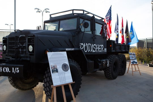 "The ""Punisher"", an M925A2 5 ton transport truck. The Punisher was built to memorialize and honor ""The Legend"", United States Navy Chief Petty Officer, Chris Kyle. It was on display during the second annual Aaron Gifford Benefit Pickleball Tournament  was held on the NMSU Tennis Courts on April 6, 2019."