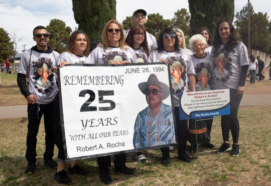 Family and friends of Robert A. Rocha, who was 43 when his body was found at Mesilla Dam 25 years ago, led the Crime Victims' Expo and Walk on Saturday, April 6, 2019. They're still seeking justice for their loved one and urge anyone with information about his death to come forward.