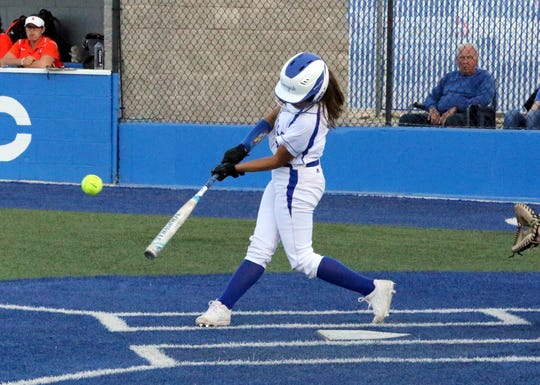 Gabby Aragon connects with a pitch for an RBI in the first inning of Friday's game against Artesia.