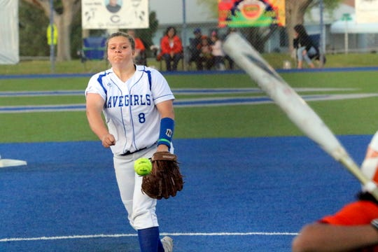 Carlsbad's Brianna Santo pitches in the fifth inning against Artesia. She recorded a five-hit, one-run win against the Bulldogs, striking out four batters in the process.