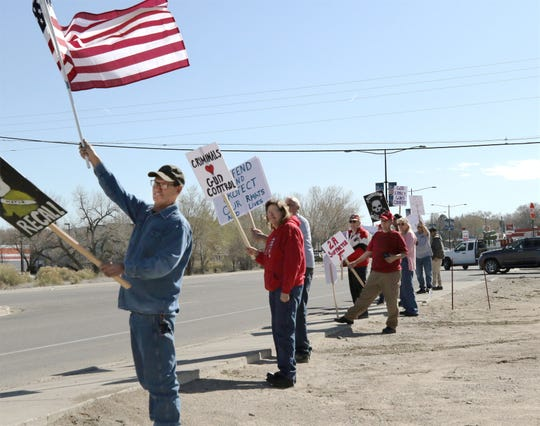 Aztec residents demanded a Second Amendment Sanctuary City resolution during a rally, Saturday, April 6, 2019, in Aztec.