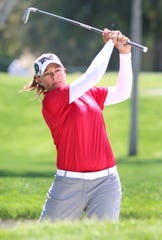 Katherine Kirk hits from the 18th fairway during round two of the ANA Inspiration at Mission Hills Country Club in Rancho Mirage on Friday.