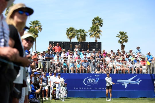 Fans watch Lydia Ko tee off on the 10th tee during round two of the ANA Inspiration at Mission Hills Country Club in Rancho Mirage on Friday, April 5, 2019.