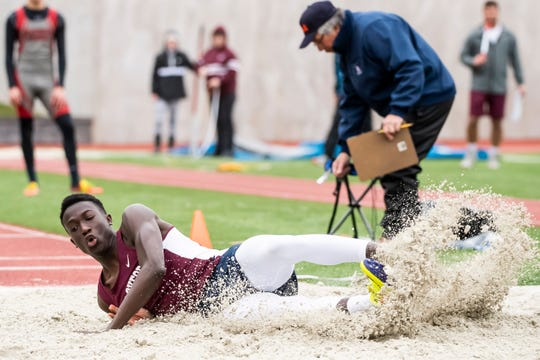 New Oxford's Abdul Janneh competes in the long jump during the Adams County Track and Field Classic in Gettysburg on Friday, April 5, 2019. Janneh took home second place with a distance of 20 feet, 2 inches.
