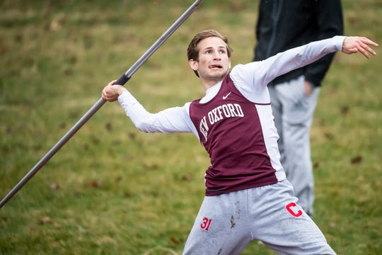 New Oxford's Brennan Romanoff competes in the javelin throw during the Adams County Track and Field Classic in Gettysburg on Friday, April 5, 2019. Romanoff took first place with a throw of 138 feet, 4 inches.