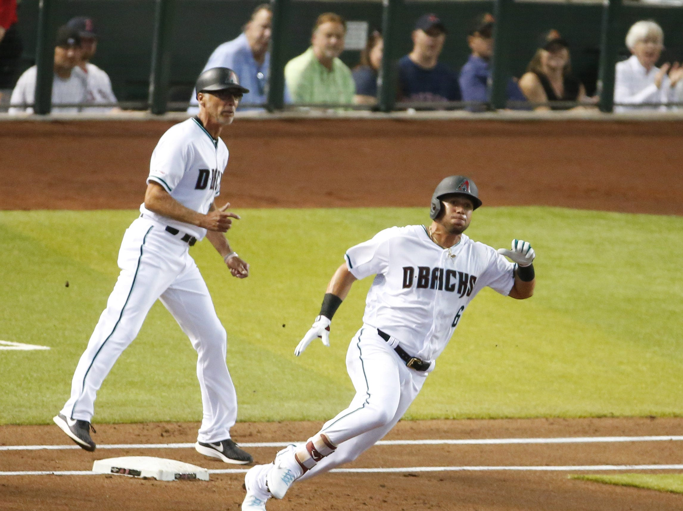 Arizona Diamondbacks right fielder David Peralta (6) rounds first base during an MLB game against the Boston Red Sox at Chase Field in Phoenix on April 5.