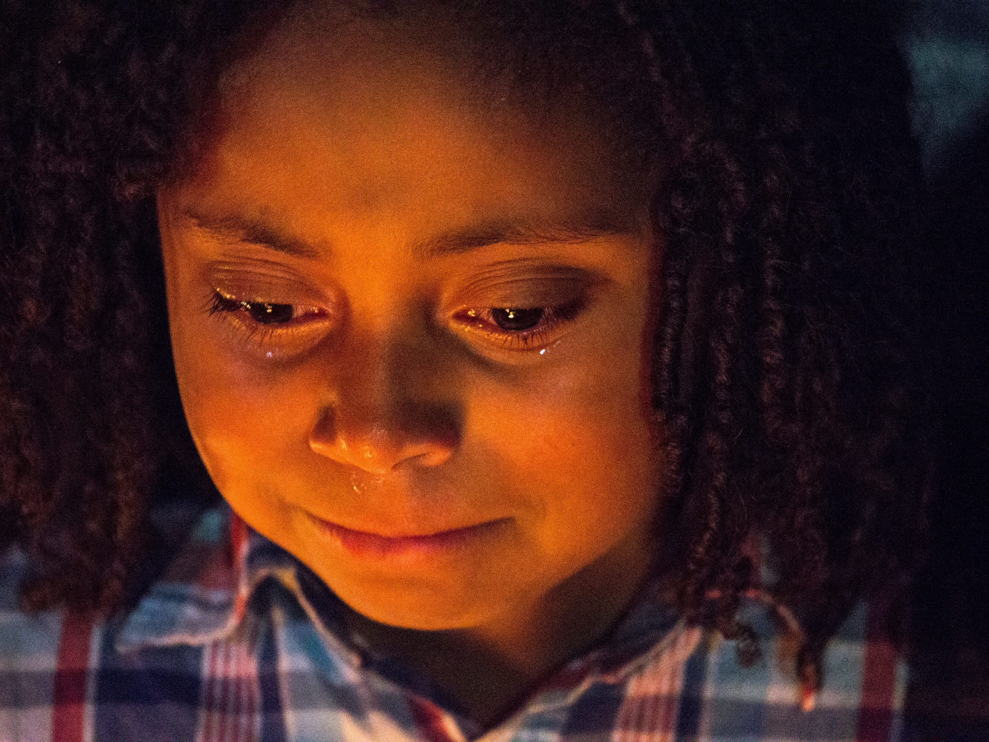Valencia (last name withheld) grieves during a vigil for Summer Bell Brown on April 5, 2019.