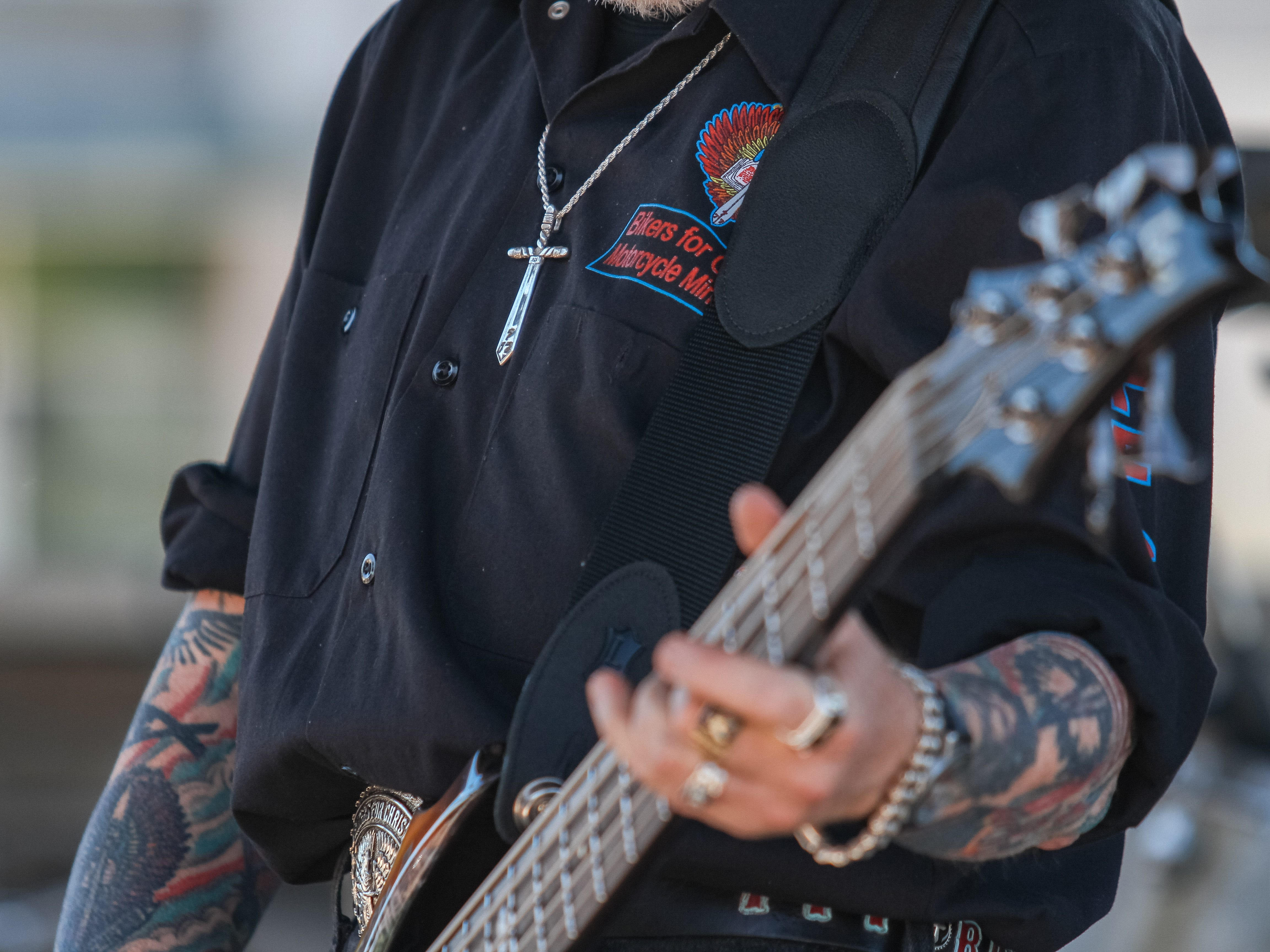 Pastor Z of the Full Throttle Band out of Southern California plays at the Harley Davidson of Scottsdale in Scottsdale on April 6, 2019.