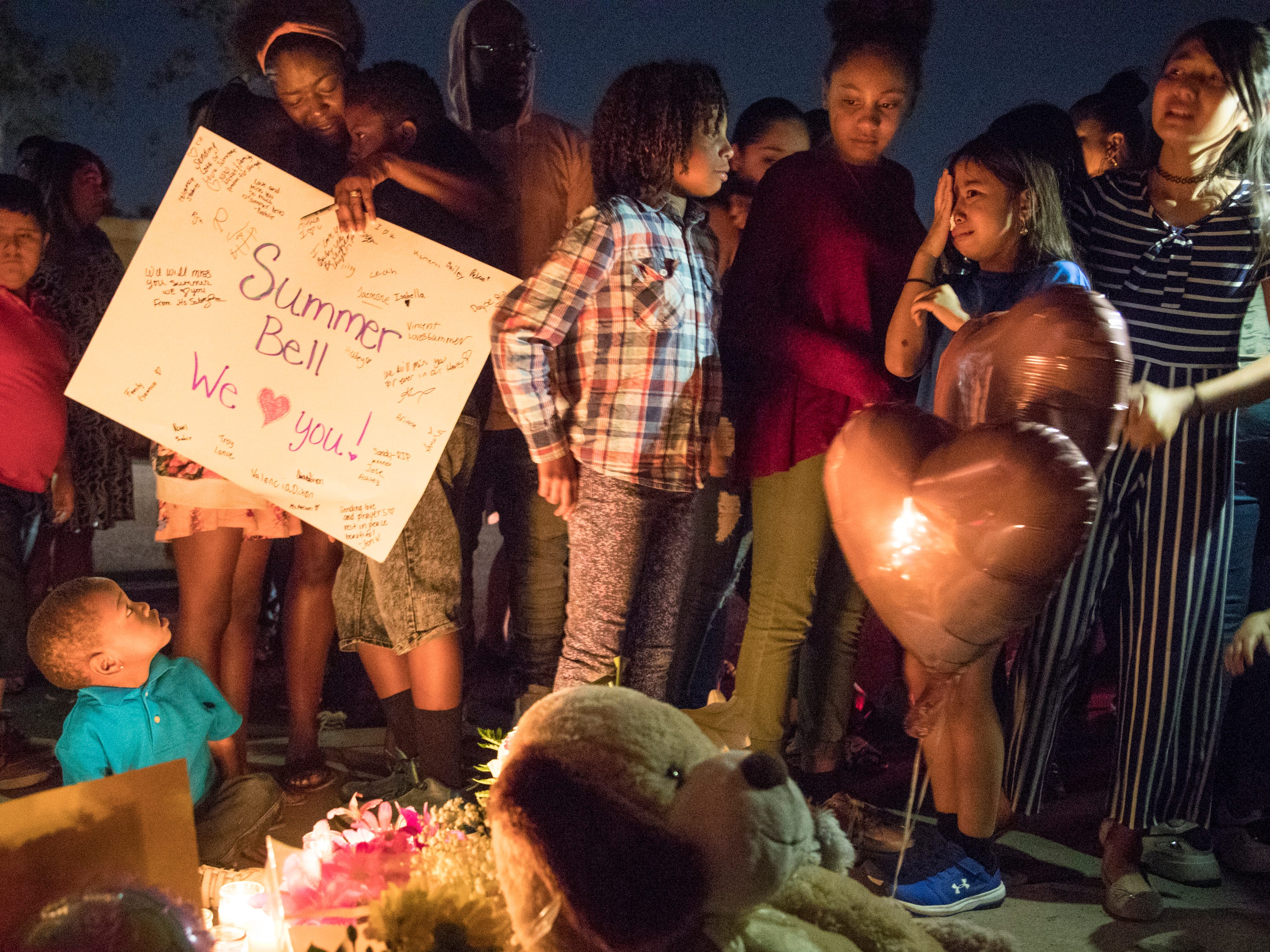 Classmates and friends grieve with Summer Bell Brown's family on April 5, 2019.
