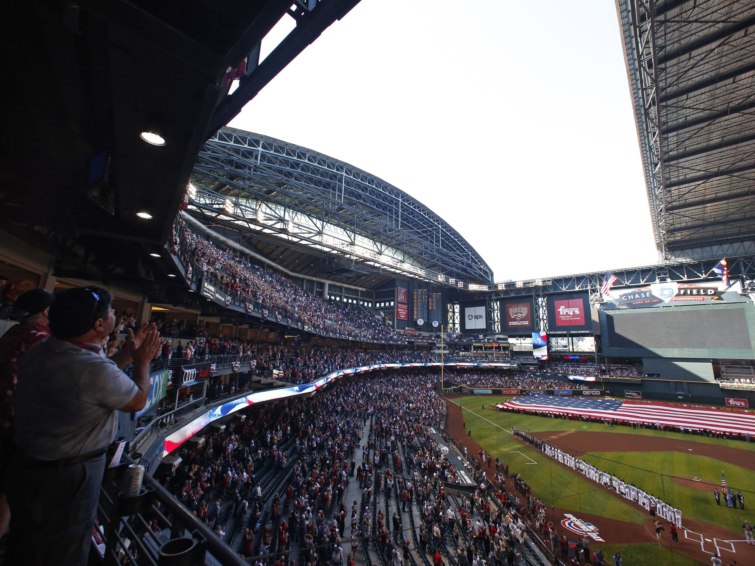 The roof only opened halfway during Opening Day at Chase Field in Phoenix on April 5.