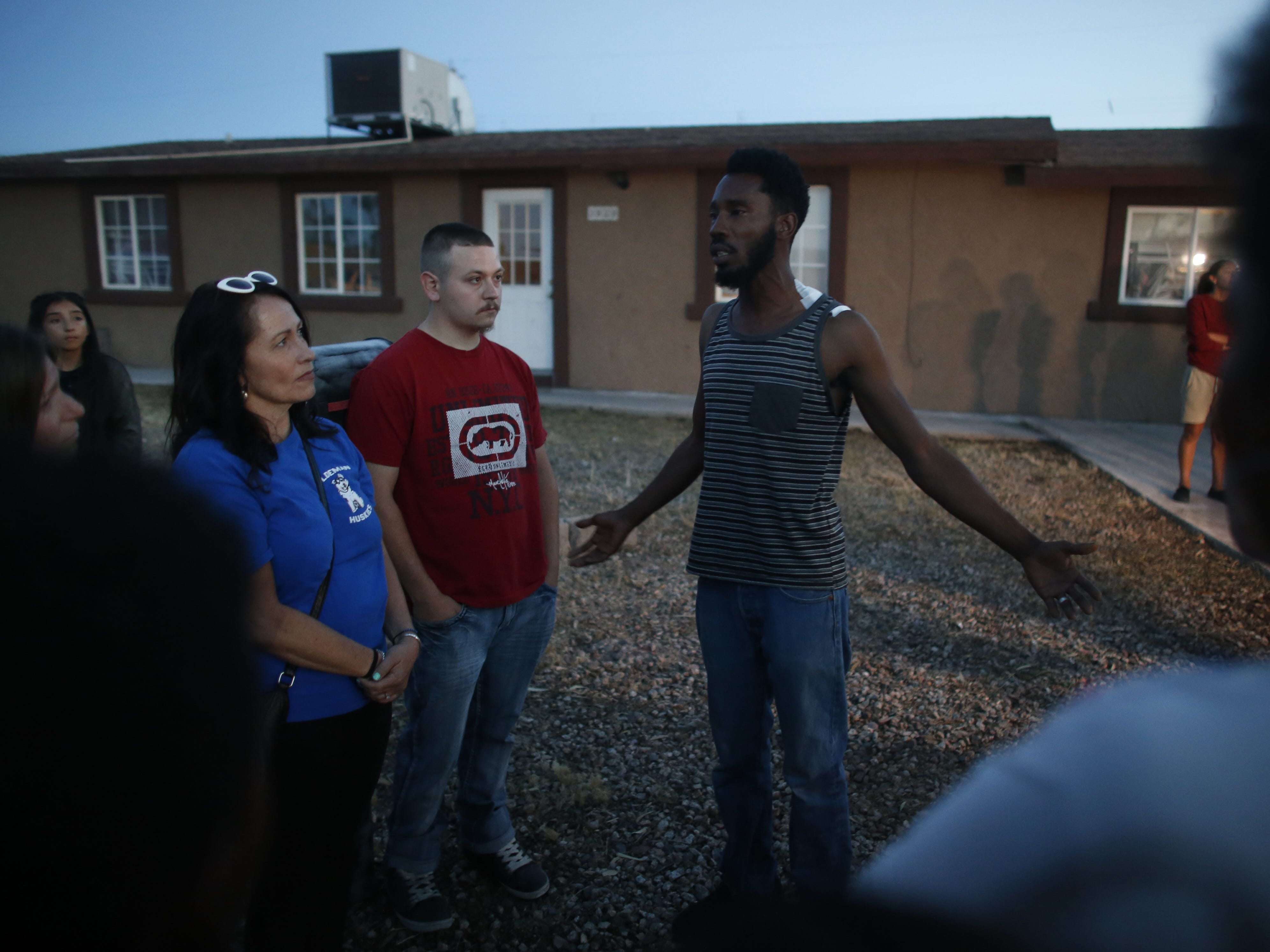 Summer's father Dharquintium Brown speaks to those who came to support their family at a vigil on April 5, 2019, for Summer Bell Brown outside her home where she was shot and killed in Phoenix.