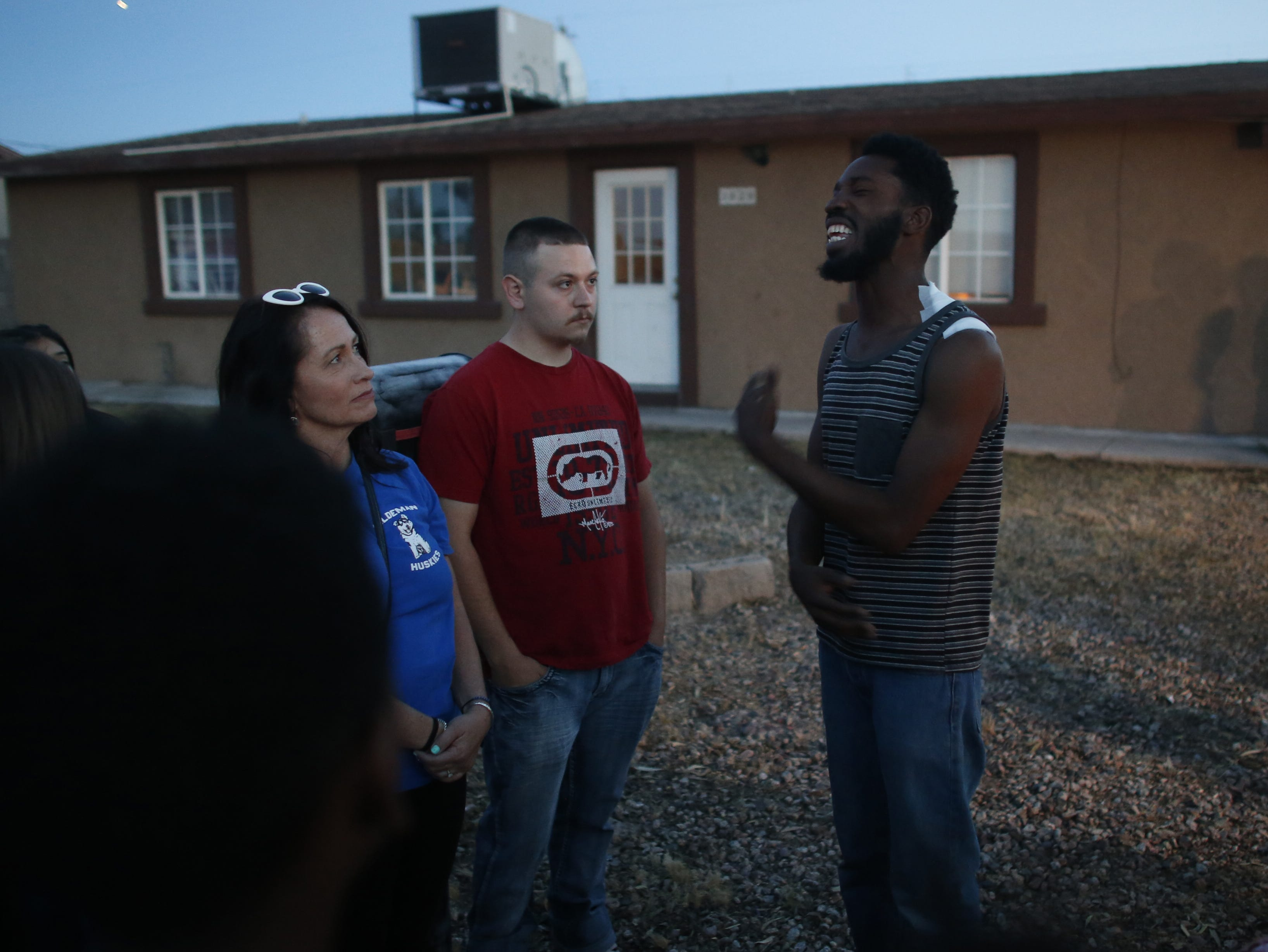 Summer Bell's father Dharquintium Brown speaks to those who came to support the family at a vigil for Summer Bell Brown on April 5, 2019, outside her home where she was shot and killed in Phoenix.