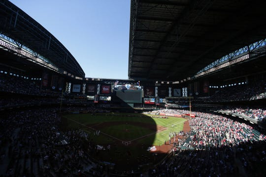 The roof only opened halfway during Opening Day at Chase Field, home of the Arizona Diamondbacks, in 2019.