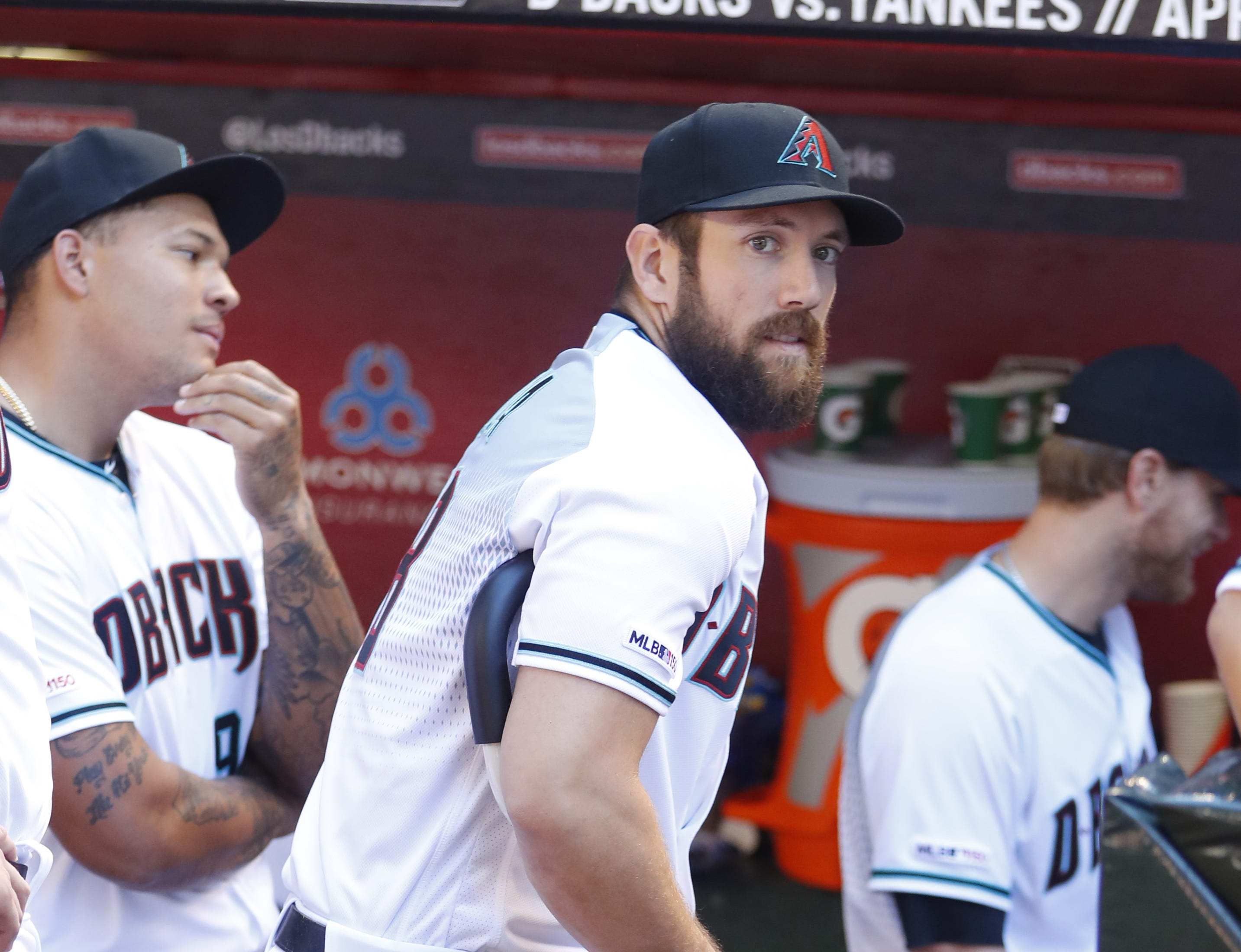 Diamondbacks Steven Souza Jr. uses crutches to move around the dugout before the Diamondbacks vs. Red Sox game at Chase Field on the Opening Day for the Diamondbacks in Phoenix, Ariz. on April 5, 2019.