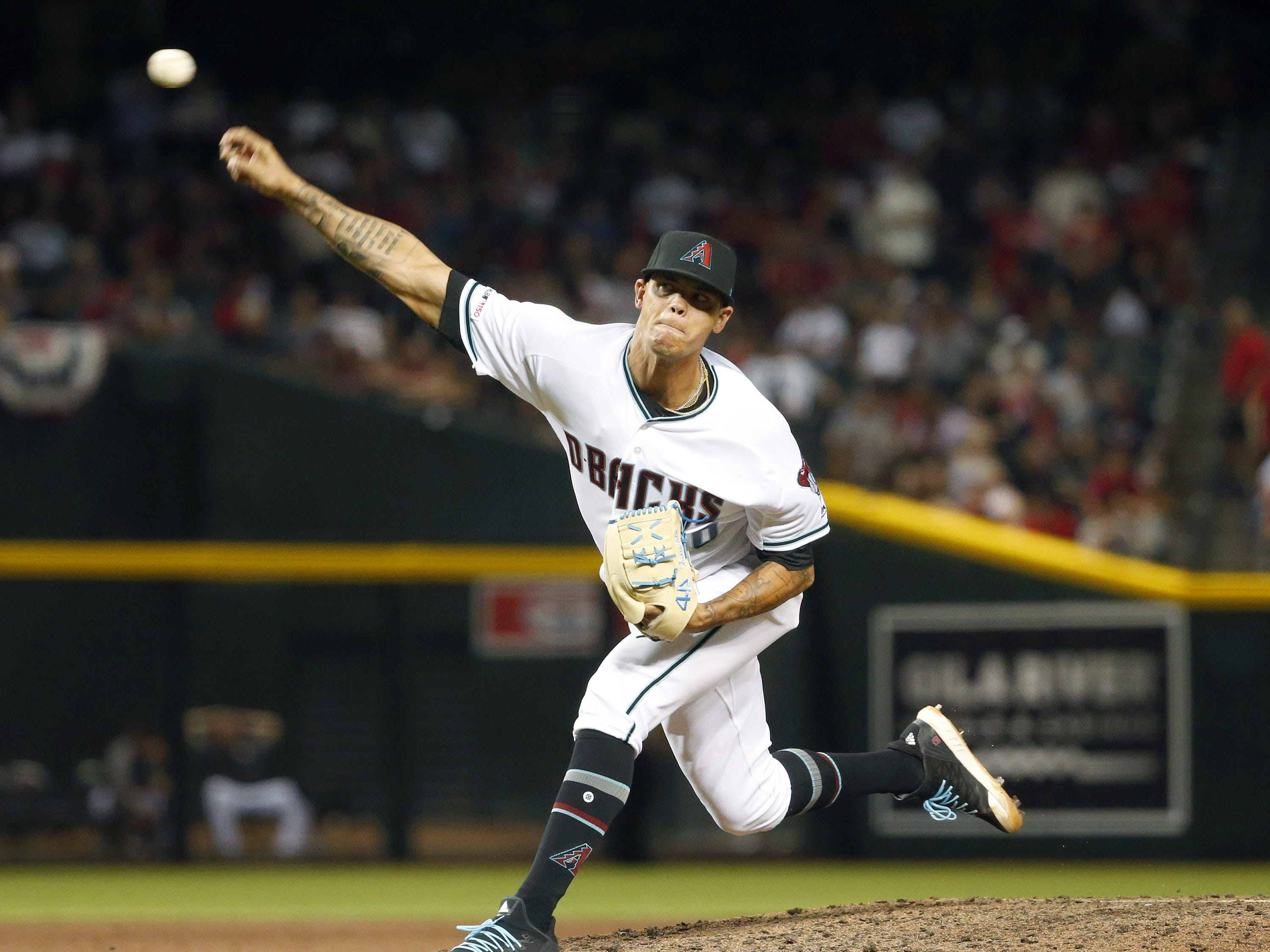 Arizona Diamondbacks relief pitcher Yoan Lopez (50) closes the Opening Day game against Boston Red Sox at Chase Field in Phoenix on April 5.